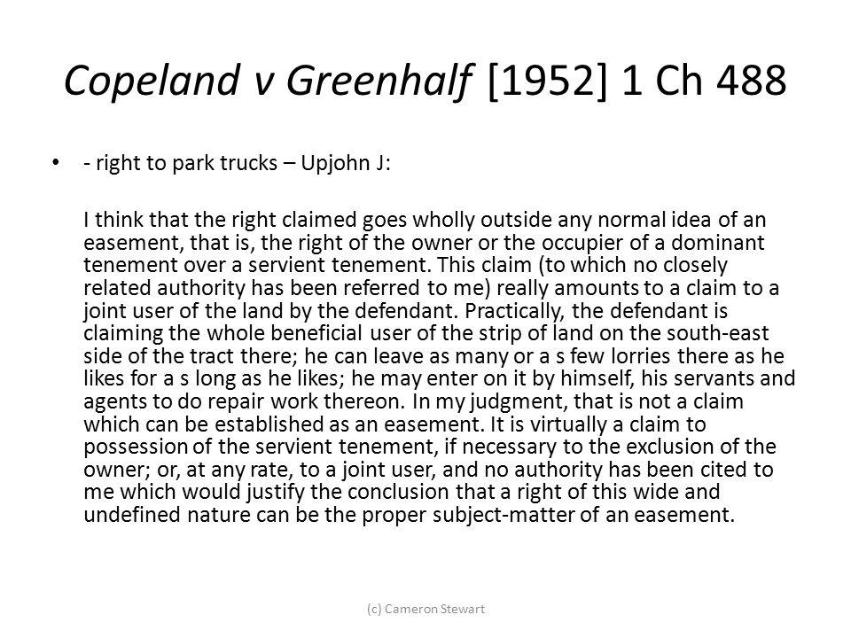 Copeland v Greenhalf [1952] 1 Ch 488